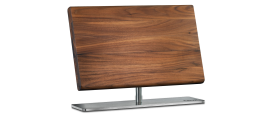 Magnetic Knife stand, solid walnut, with stainless steel pedestal