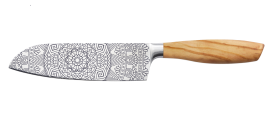 "SIZE S OLIVE SANTOKU KNIFE 6,5"" with Mandala both sides"