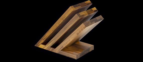 Magnetmesserblock Fächer Walnuss massiv, leer, für 6 Teile