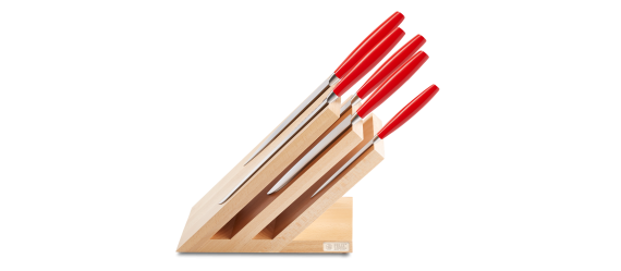 LADY'S LINE RED magnetic knife block, SET 6 pieces